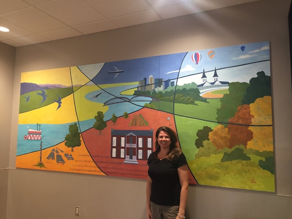 Amy Welborn with the Dixie Hwy Kroger Mural