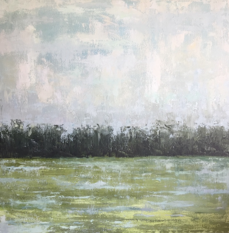 """Brush of Spring"" by Amy Welborn, Oil, 24x24in, 2018, $650"