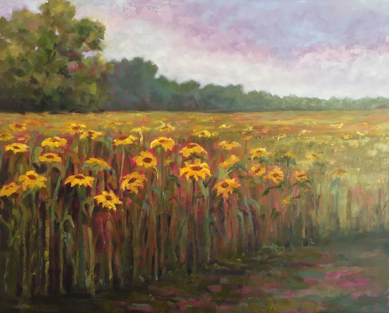"""Summer Sunflowers"" by Amy Welborn, Oil, 24x30in, 2019, $1200"