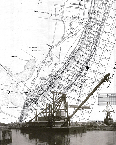 Clam Shell Dredger over Sacramento River, California Debris Commission Survey Map.