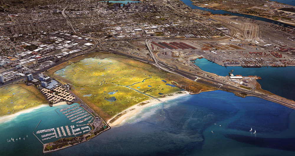An embayment in Emeryville, fronts the East Bays' most critical infrastructures that are imperiled by rising waters. By constructing a barrier beach complex and shallowing the currently under-performing basin, a massive expansion of the tidal marsh and its commensurate flood protection capacity is possible.