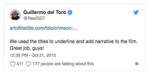 Director Guillermo del Toro ( The Shape of Water ,  Pan's Labyrinth ,  Pacific Rim ) tweeted his appreciation about our article on the title sequence of his film  Crimson Peak  in 2015