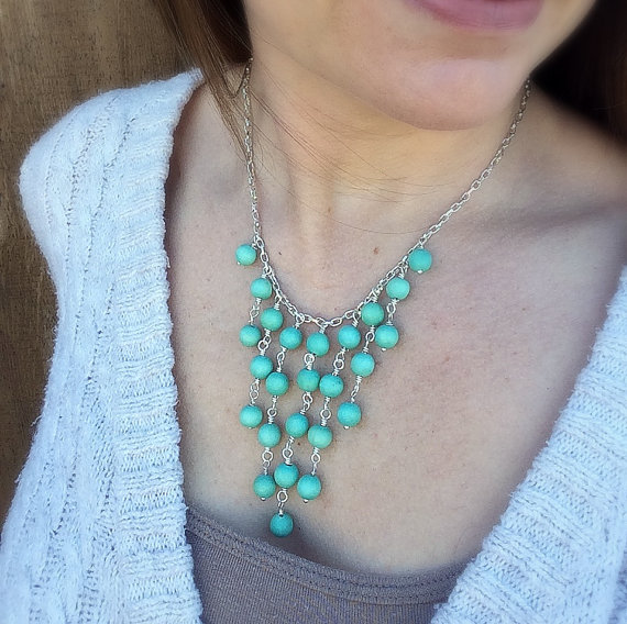 Turquoise Wood Beaded Statement Necklace