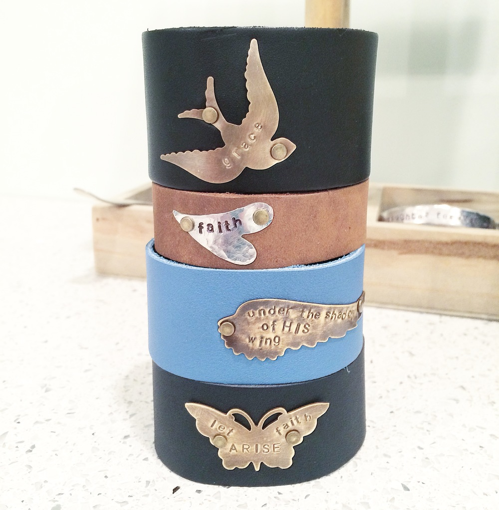 Hand Stamped Inspirational Leather Cuff Bracelets