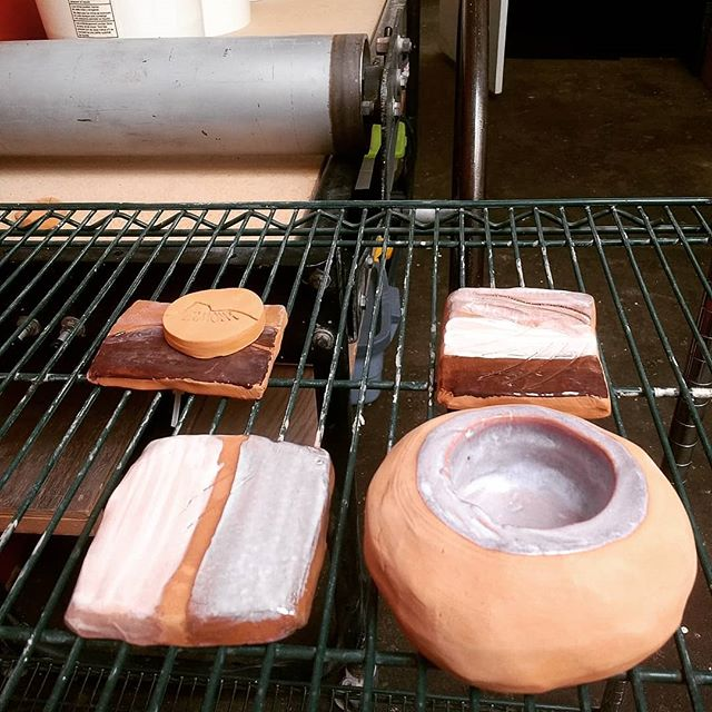 tests that make me smile #localclay #VTclay #handbuilding #lowfireclay #cone05glaze #clayexperients #glazeexperiements