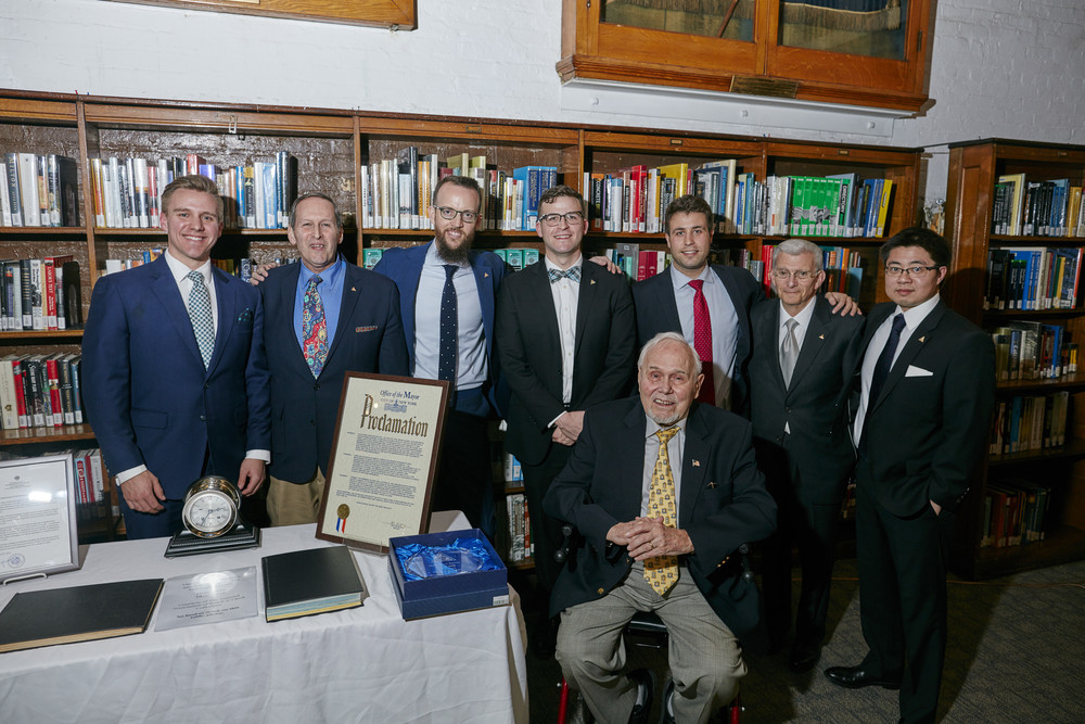 Left to right: Stephen Eagle - Director of Education, Edwin Hydeman - President, Nicholas Manousos - Vice President, Luke Cox-Bien - Trustee, Hans Weber - Trustee & Fellow, Michael Fossner - Trustee, Charles Salomon - Treasurer & Fellow, Daniel Mooncai - Trustee