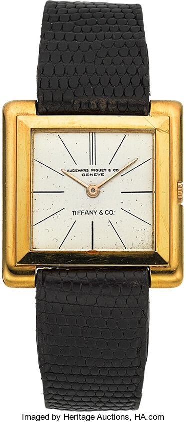 Audemars Piguet 18K Gold Square Wristwatch Ref. 5128BA Signed Tiffany & Co. Circa 1960
