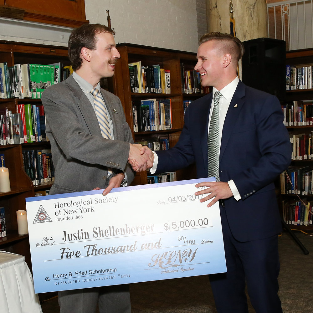 Steve Eagle (HSNY's Director of Education, right) presenting the 2017 Henry B. Fried Scholarship to Justin Shellenberger