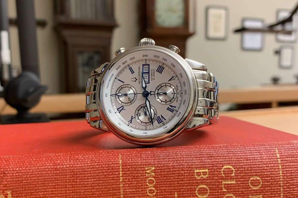 Lot 3 - Bulova Accutron Watch, Circa 2010  Beautiful chronograph in great condition. Donated by Ed Hydeman, HSNY's Executive Director.  Estimate: $500 - $1,000