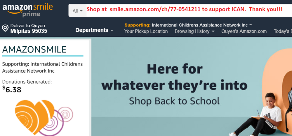 Shop smile.amazon to support ICAN