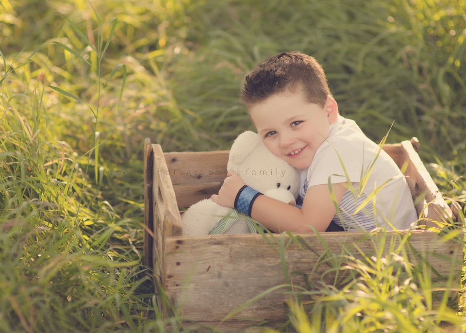 little boy in crate with teddy bear in field family child photos