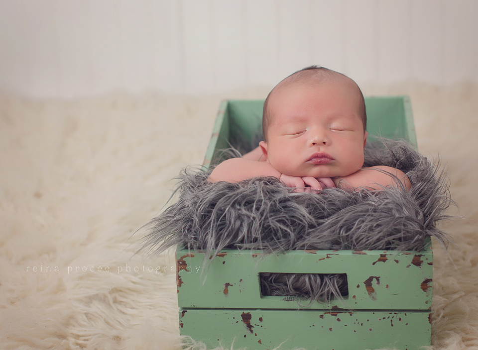 boy sleeping in green box on grey fur