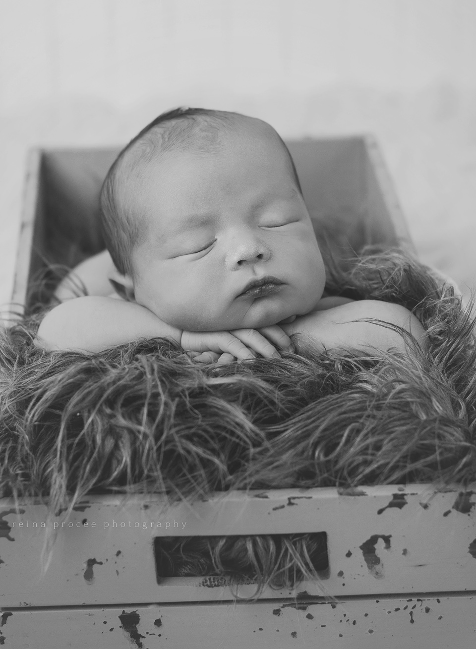 baby boy sleeping in a box blank and white