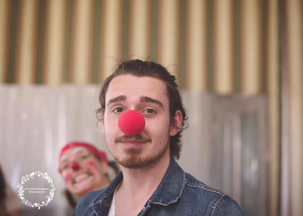 man with clown nose