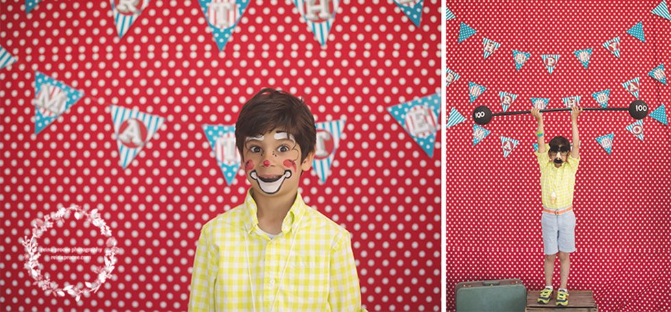 boy with face painted red and white polka dot backdrop