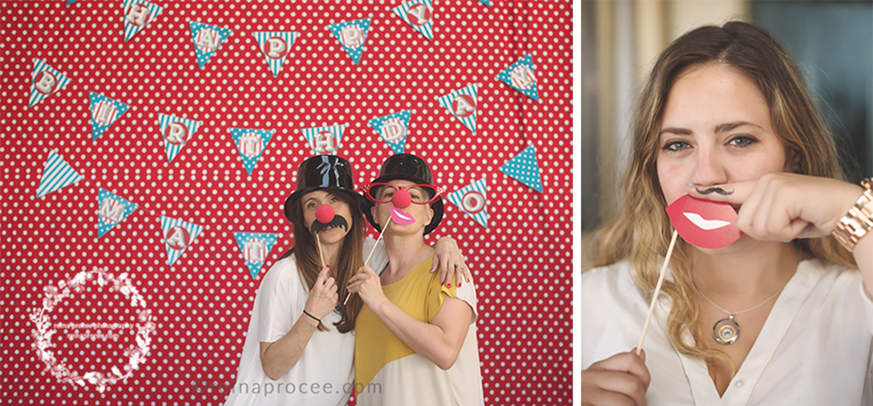 girls with clown noses and moustaches red and white polka dot backdrop