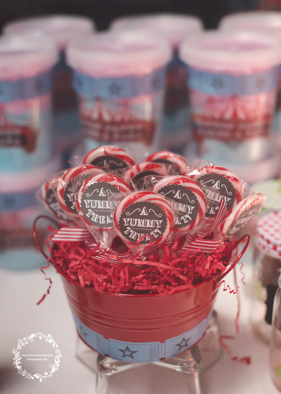 lollipops in red pail