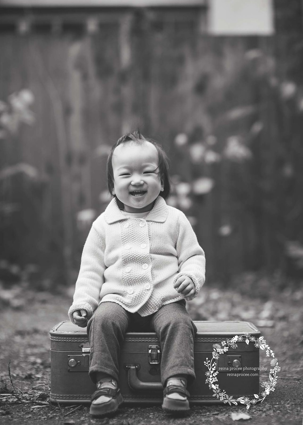 little boy sitting on suitcase laughing