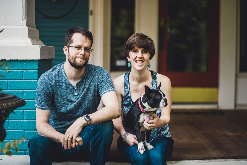 Margaret and her husband, Nathaniel, and her dog, Zelda. Photo by Sean Berry