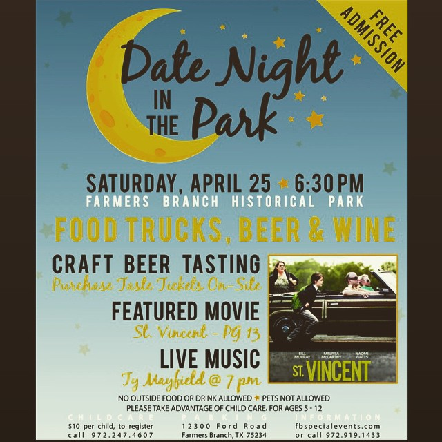 Dallas - FREE Concert at Date Night in the Park in Farmers Branch - This Saturday, 4/25. So excited for this event.