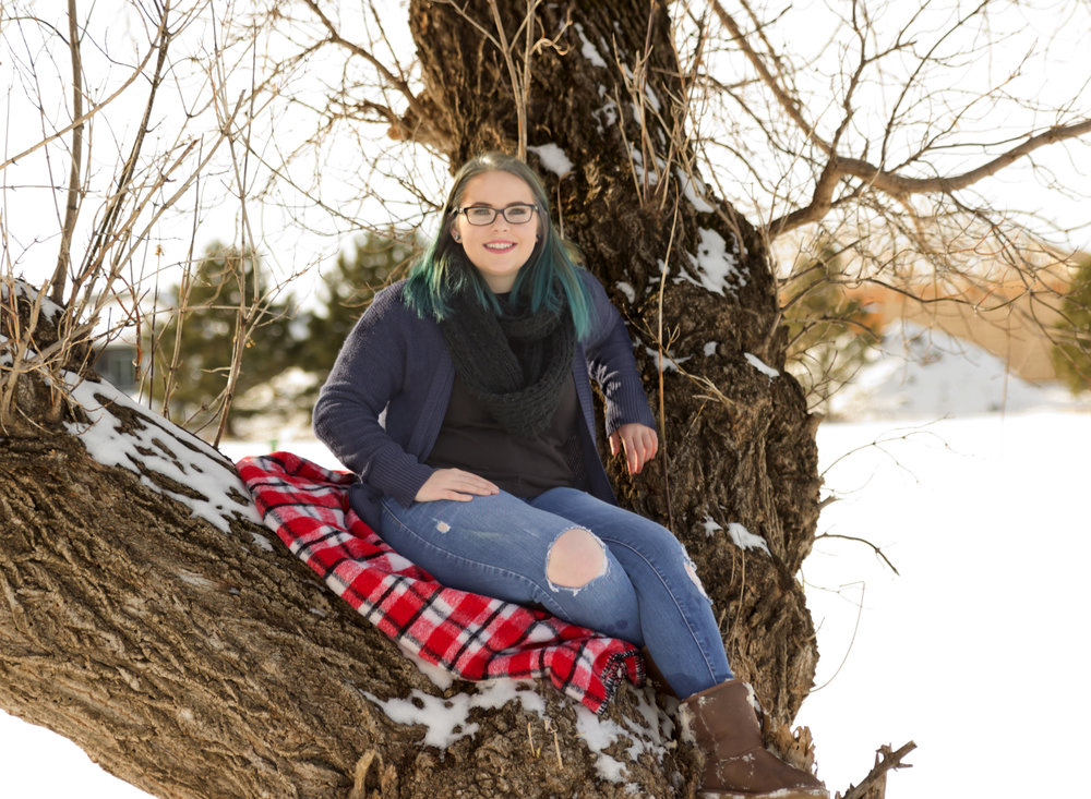 Dear Me Photography Bismarck Senior girl sitting in a tree