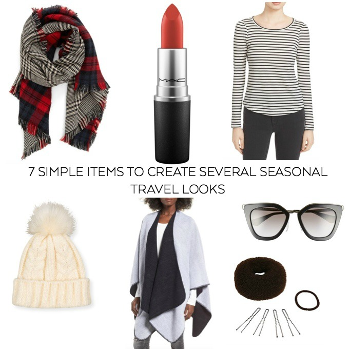 seven simple items to create several seasonal travel looks