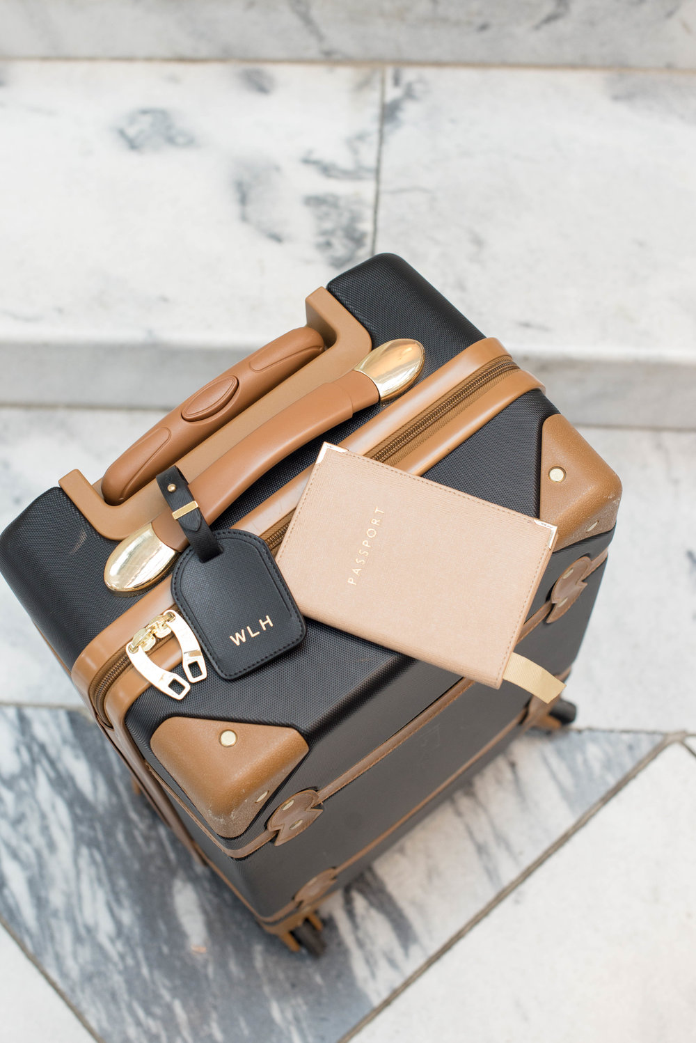LUGGAGE: DVF ,  PASSPORT CASE: ASPINAL OF LONDON ,  LUGGAGE TAG: CUYANA