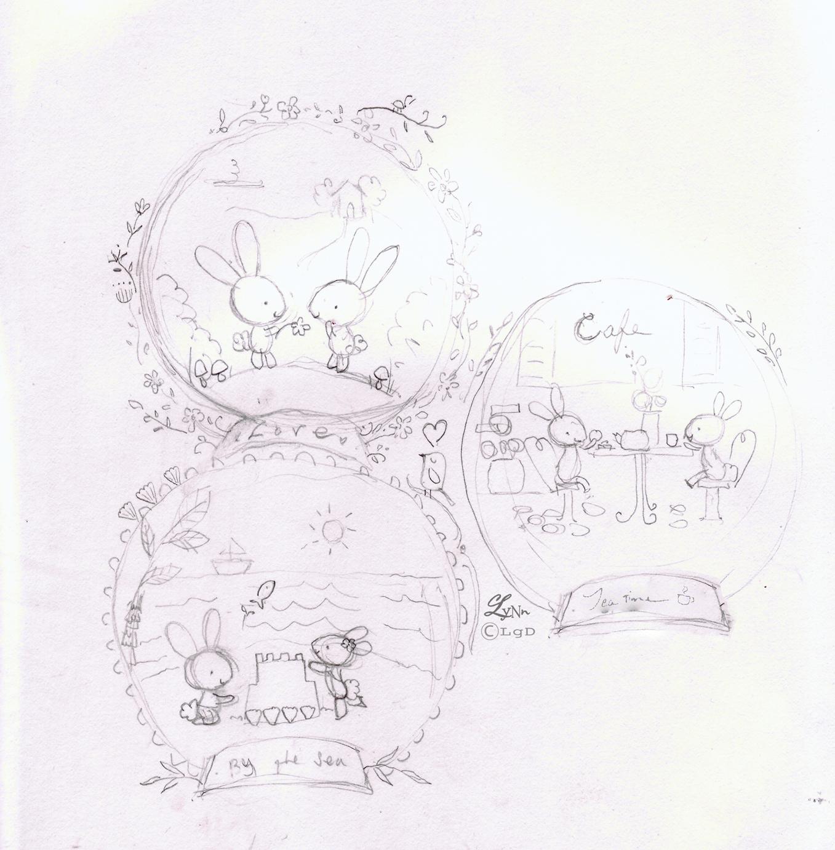 wood slice sketches- bunny scenes