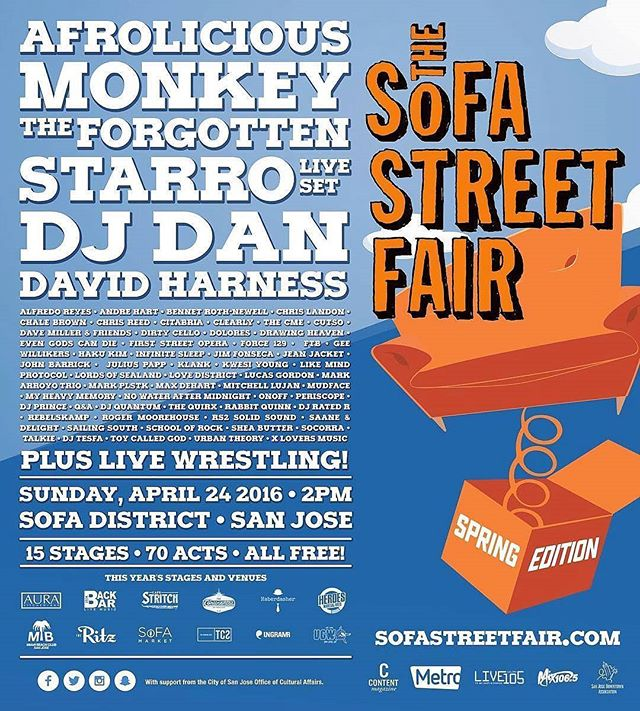 #SoFAStreetFair is now TWICE a year: April & September - Come out to the #SoFADistrict for the inaugural SPRING EDITION on Sunday, April 24th!  #ALLAGES / #FREEADMISSION 2pm - 10pm - 3 outdoor stages - 12 indoor stages - Over 100 LIVE performances throughout the day!  #FoodTrucks, #CraftBeerBooths, #AllAgesActivitiesall-ages and #ArtisanVendors will fill the streets, with #LIVE events all day and night in adjacent #arts and #music venues! Wait a minute, there's also gonna be #UndergroundWrestling ?! The @barbrocks @nemesismediainc crew will proudly be hosting/managing the @blncdbrkfst Stage SoFA Street Fair SPRING EDITION '16 inside the Miami Beach Club featuring First Street Opera, X Lovers Music, Mitchell Lujan, Lords of Sealand, Urban Theory, Lucas Gordon, & ONOFF! Also, don't miss @citabriamusic at The Ritz @ 7pm!!! Join us this Sunday and peep some awesome talent - (For more info on the Balanced Breakfast stage and general SoFA Street Fair info, click the following link and RSVP to our showcase! -  https://www.facebook.com/events/147859478944424/  #YouCantFakeAwesome #Barbrox #NemesisMediaInc #BayAreaMusic #BayArea #SanJose #SJBands #Community #SouthBay #MusicIsLife #MusicFestival #Music #SoFA #Foodtrucks #Art #SouthFirst #BBSJ #Free