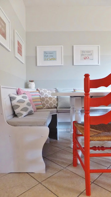 ombre striped breakfast nook
