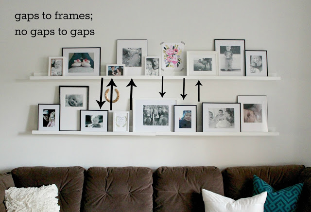 IKEA picture ledges, photo gallery tips