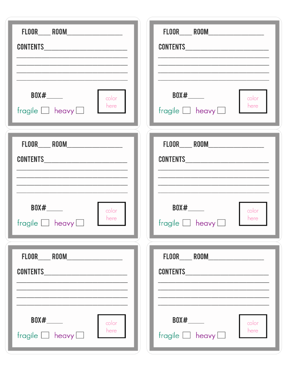 Staying Organized On Moving Day Free Printable Packing Labels – Packing Label Template
