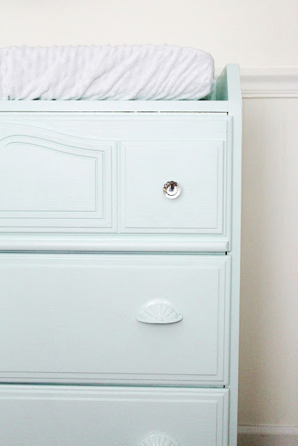 Great wood dresser makeover with new tone on tone hardware and mint paint