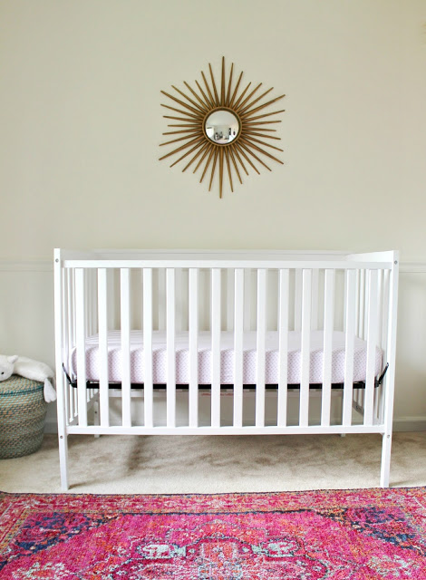 light and bright nursery with pops of color