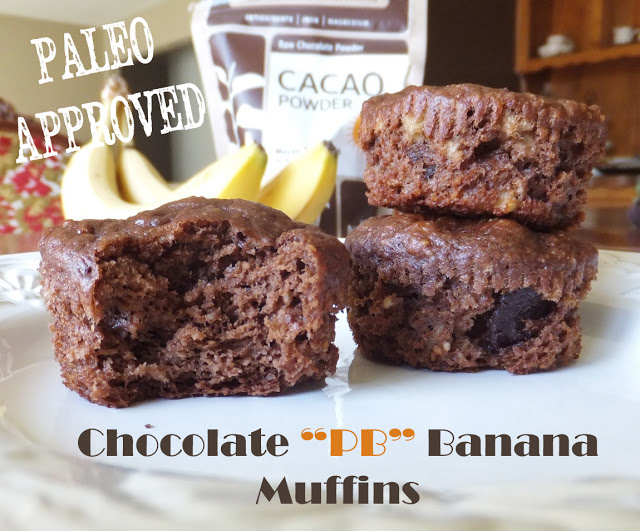 "Paleo chocolate ""PB"" banana muffins"