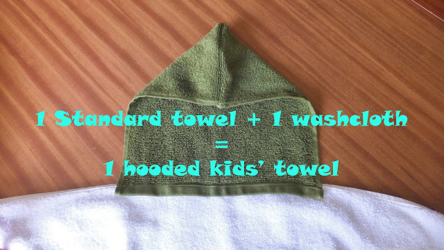 kids bath towel from a towel and washcloth