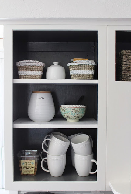 coffee station on open shelving