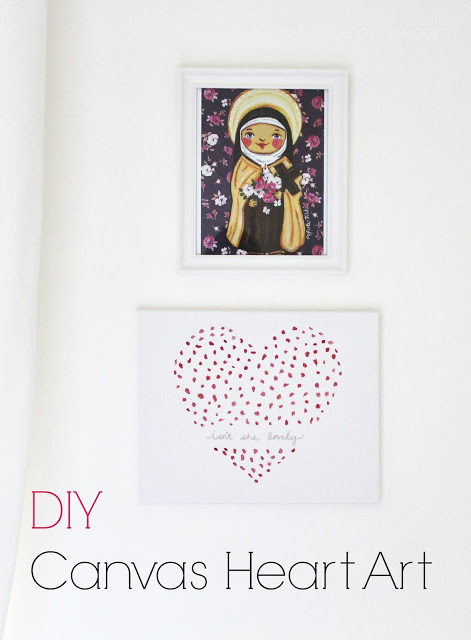 """Isn't She Lovely"" DIY canvas heart art"
