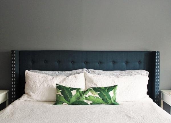 Master bedroom with grey walls