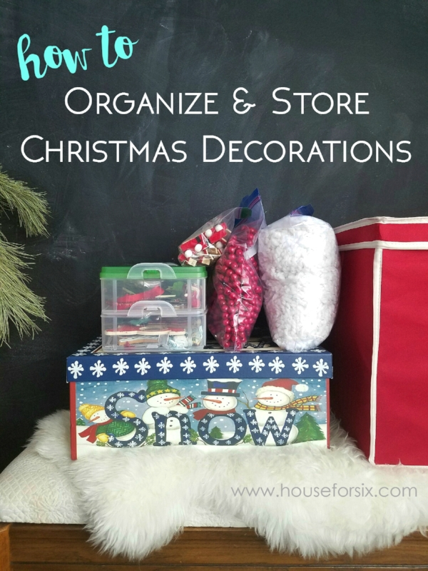 Great tips for how to organize and store Christmas decorations.