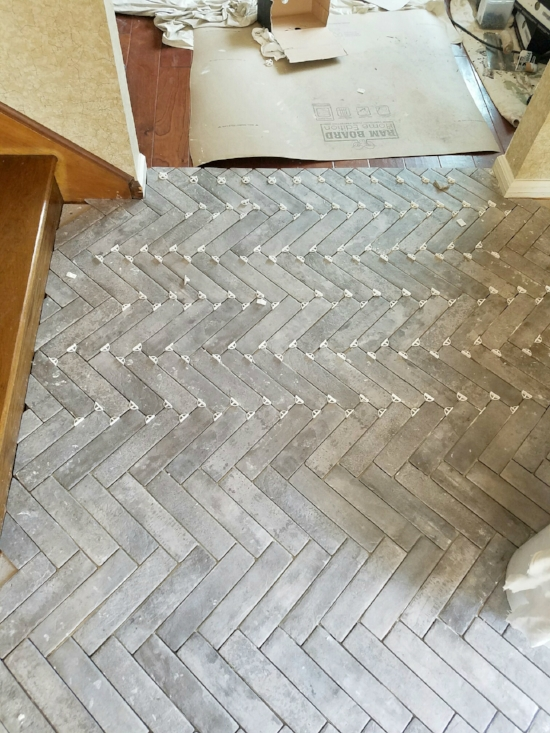 Entry Progress Herringbone Brick Tile Floors House For Six