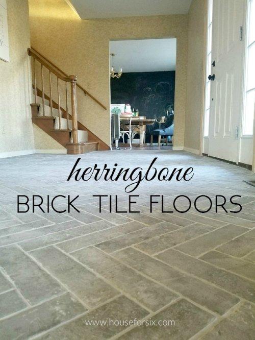 Entry Progress: Herringbone Brick Tile Floors — House For Six