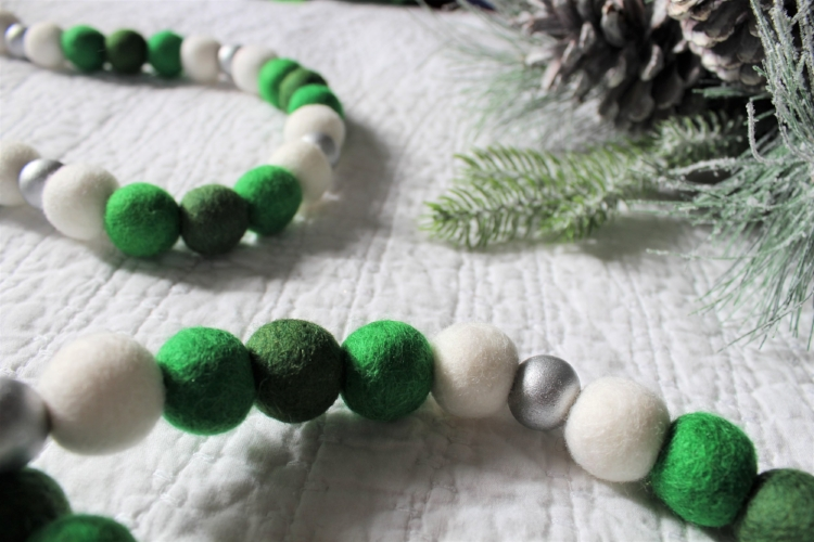 two tone green and silver felt ball garland