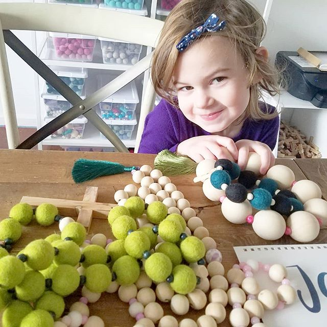 This little girl has some fun news! If you hop over to our @lilyjoydesigns Instagram page in about an hour, we'll be kicking off a flash sale! You'll be able to snag some of our wall rosaries, decades, prayer Beads, and team beads at a great discount while we make room for new inventory coming this spring! 🎉🎉🎉