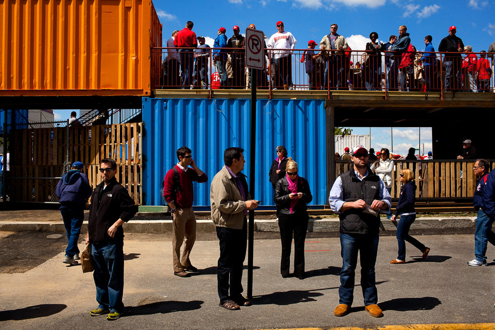 People outside a beer garden near Nationals Park on opening day, April 12, 2012.