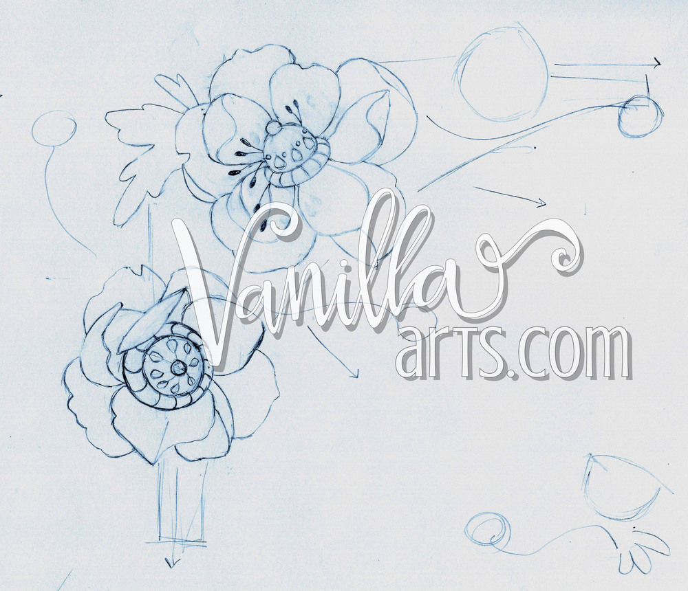 Preliminary sketch for a new digital stamp. | VanillaArts.com
