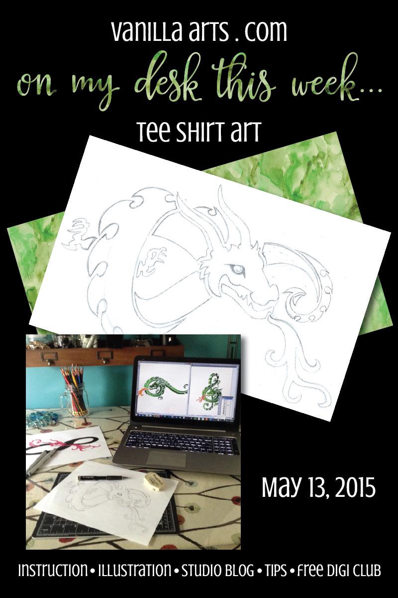 Tee shirt art in progress | VanillaArts.com