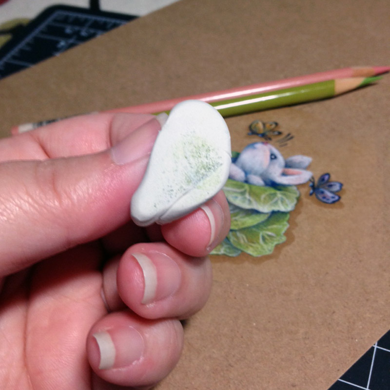 Sticky tack lifts colored pencil without damaging the paper | VanillaArts.com