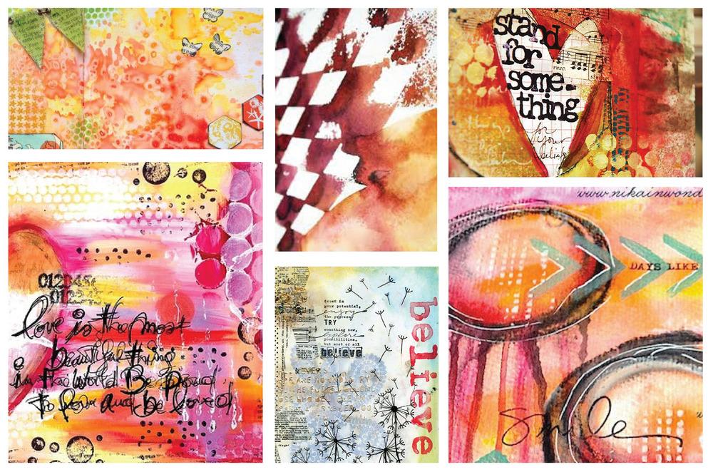 Inspiration for Twelve Pages art journal class, various artists | VanillaArts.com