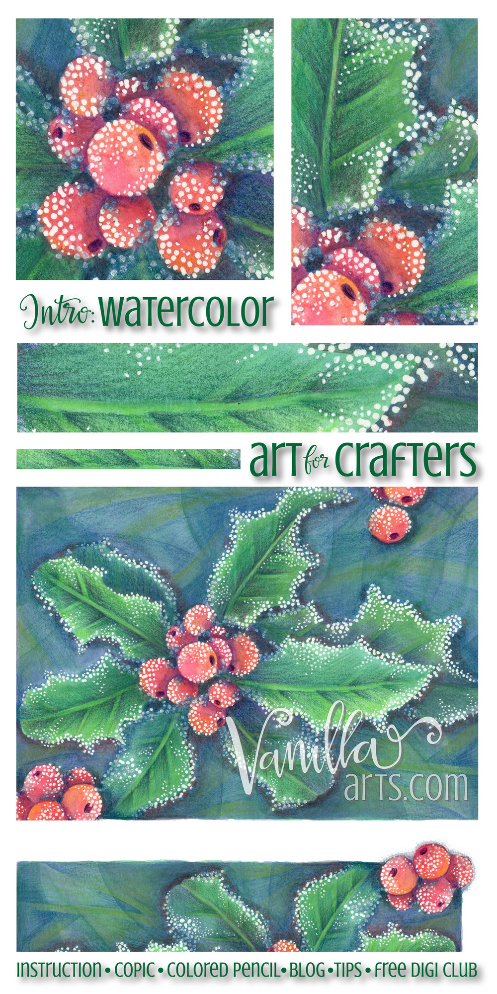 Intro to watercolor lesson using watercolor pencils | VanillaArts.com